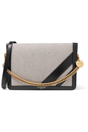GV Cross suede-trimmed canvas and textured-leather shoulder bag