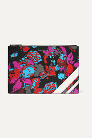 Givenchy Floral-print faux textured-leather pouch
