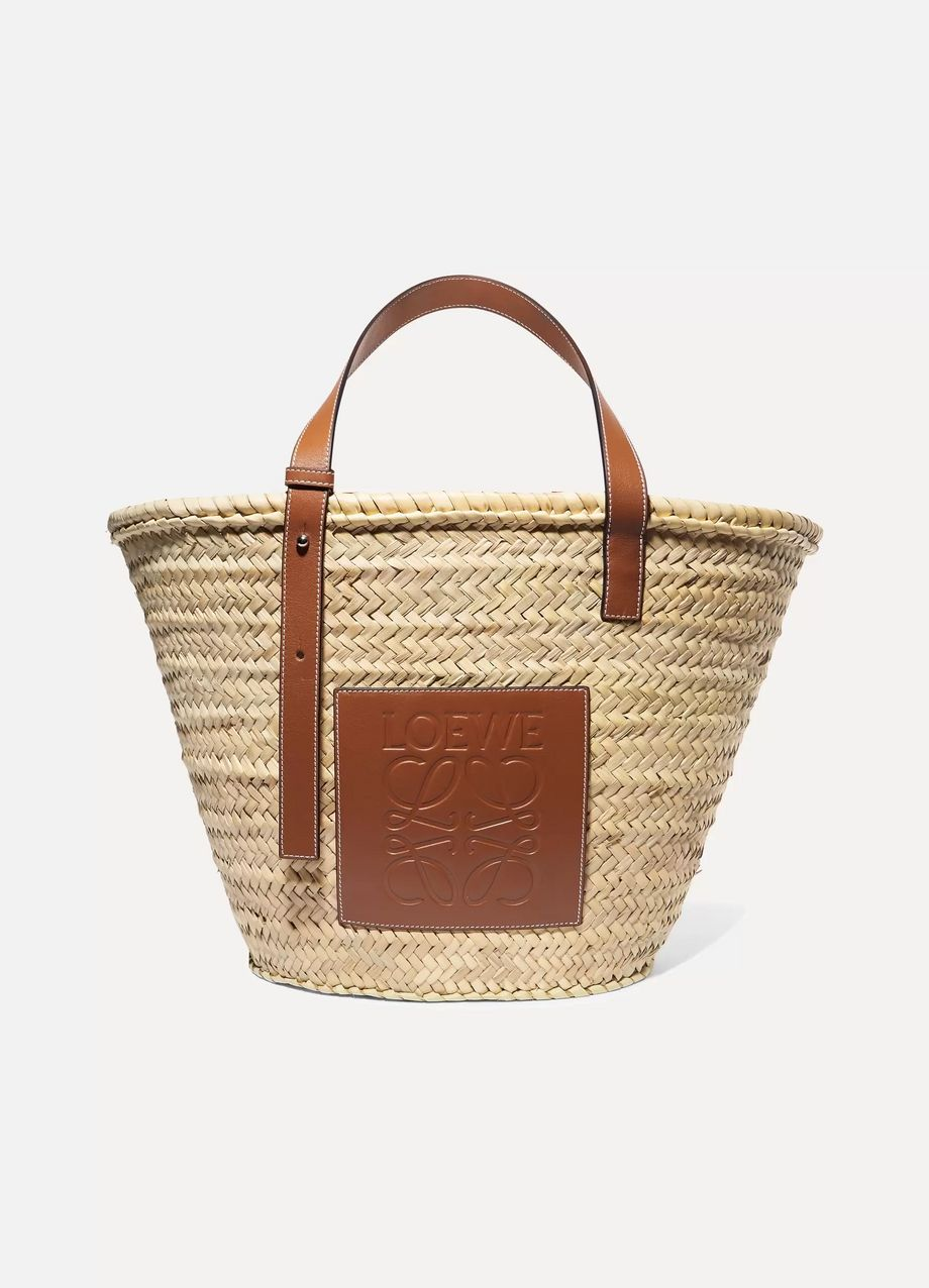 Loewe Large leather-trimmed woven raffia tote
