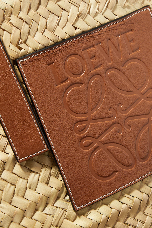 Loewe Medium leather-trimmed woven raffia tote