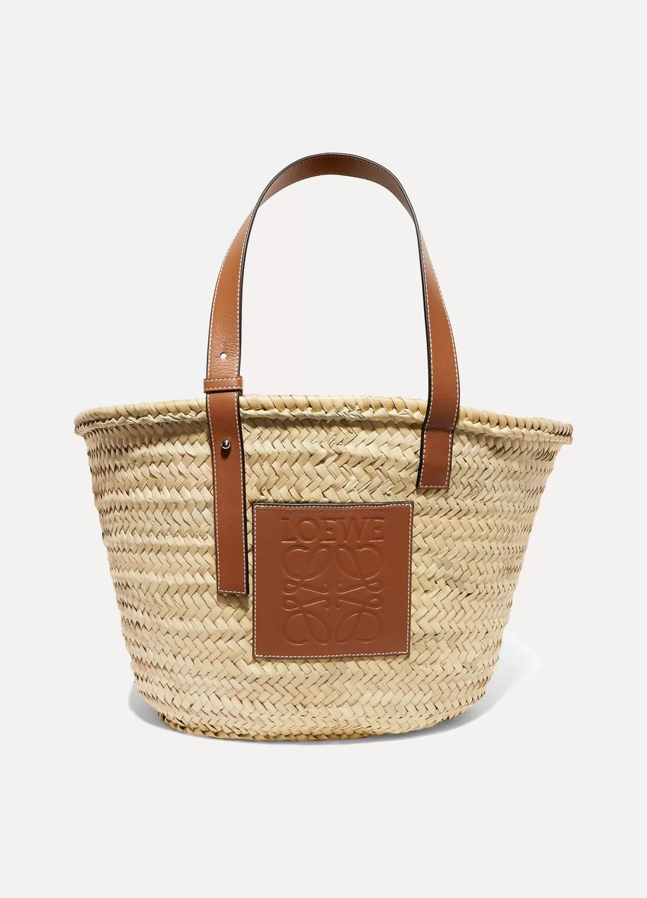 Loewe 皮革边饰酒椰叶纤维编织中号手提包