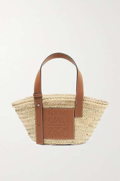 a9fe36665061 Loewe. Small leather-trimmed woven raffia tote