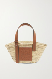 Small leather-trimmed woven raffia tote