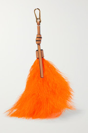 Loewe Feather-trimmed leather bag charm