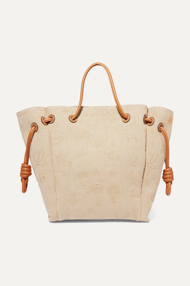 Loewe Leathers Flamenco medium leather-trimmed embroidered linen tote