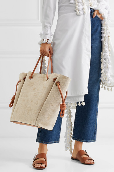 Loewe Totes Flamenco medium leather-trimmed embroidered linen tote