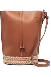 Gate jute-trimmed textured-leather and linen bucket bag