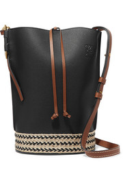 Gate jute-trimmed textured-leather bucket bag