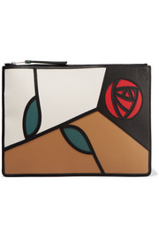 Roses patchwork leather pouch