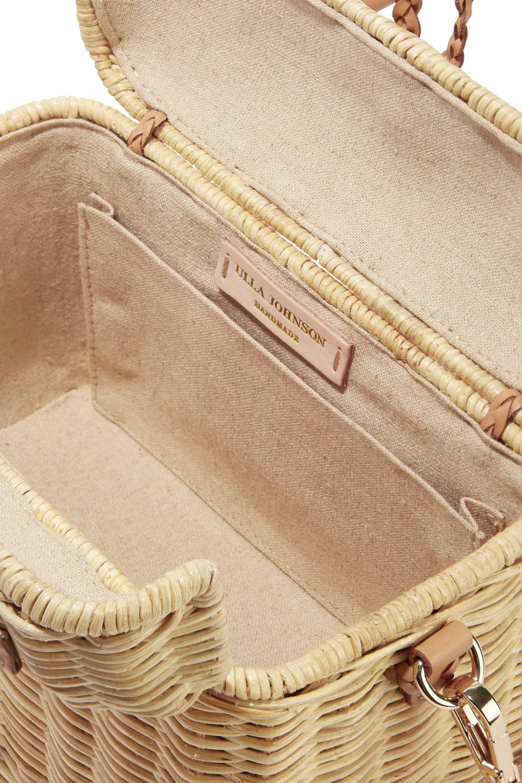 Ulla Johnson Perle leather-trimmed wicker shoulder bag