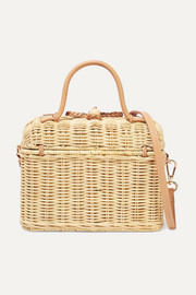 Perle leather-trimmed wicker shoulder bag