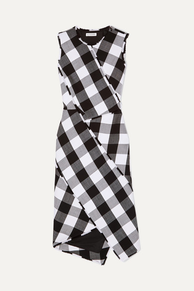 ALTUZARRA Paneled Gingham Stretch Wool Sheath Dress in Black