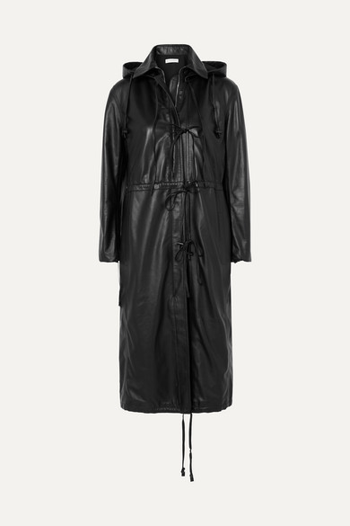 Marina Hooded Leather Coat in Black