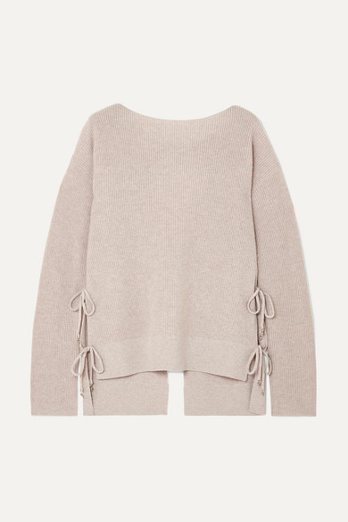 Templar Tie-Back Ribbed Cashmere Sweater in Beige
