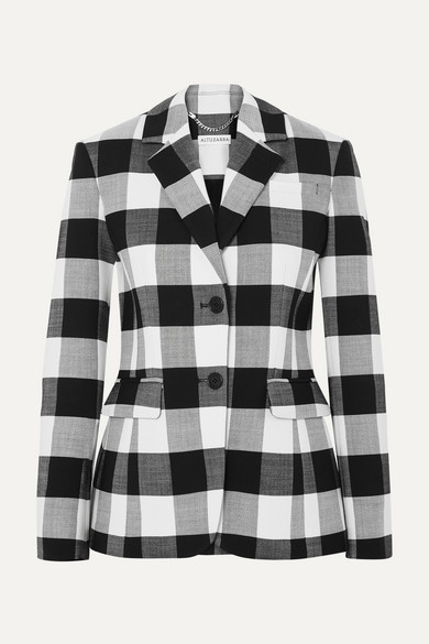 Single-Breasted Two-Button Plaid Wool Blazer in Black