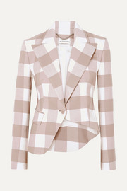 Lazio asymmetric gingham wool-blend twill blazer