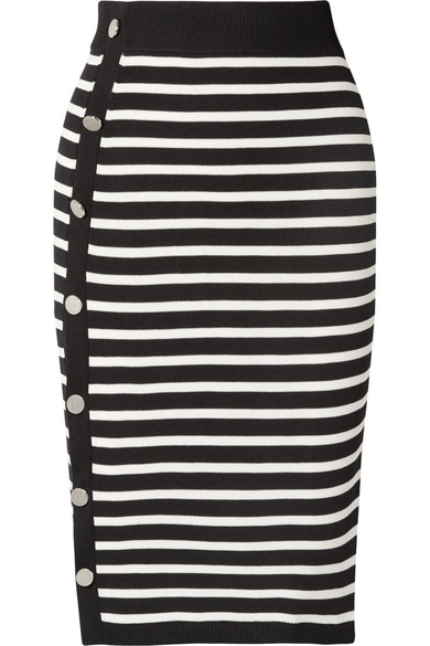Temio Striped Rib-Knit Skirt - Black Size S
