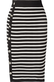 Enya striped ribbed-knit skirt