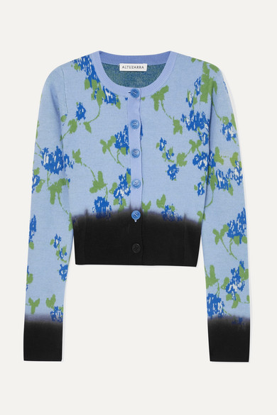 Zannone Cropped Floral-Intarsia Wool Cardigan in Blue