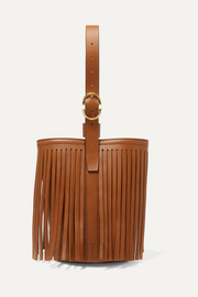 Fringed leather bucket bag