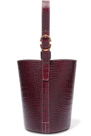 Small croc-effect leather bucket bag