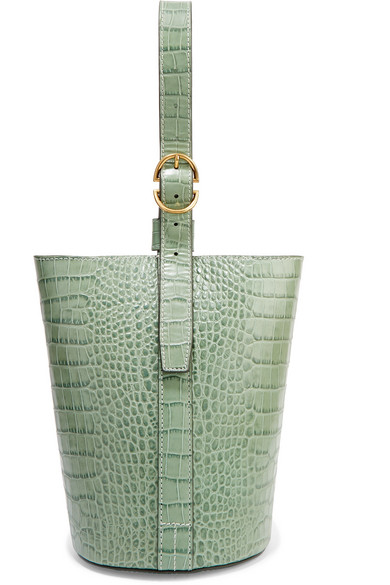 Small Croc-Effect Leather Bucket Bag in Gray Green