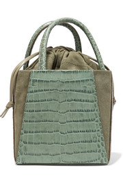 Dorthea Box croc-effect leather and suede tote