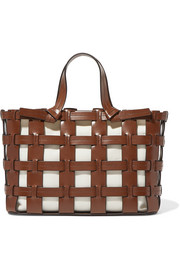 1f0585db7b Trademark - Frances caged leather and canvas tote