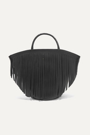 Fringed leather tote
