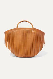 Large fringed leather tote