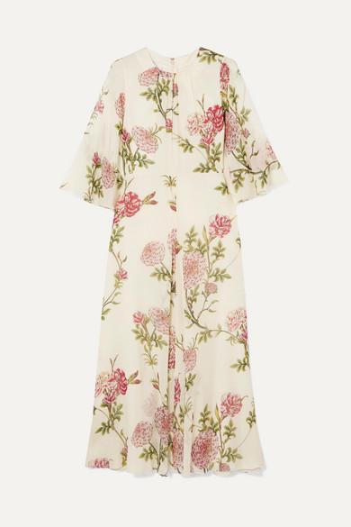 Giambattista Valli Silk Wide Sleeve Floral Midi Dress Multicolor In Ivory