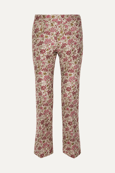 Floral Jacquard Slim Straight Pants in Red