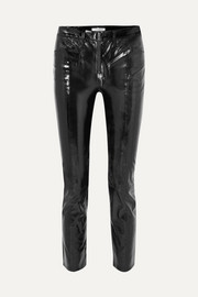 Slick cropped patent-leather high-rise slim-leg pants