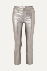 FRAME Cropped metallic stretch-leather high-rise straight-leg pants