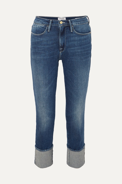Le High Straight Cuffed Jeans - Blue Size 25 in Dark Denim