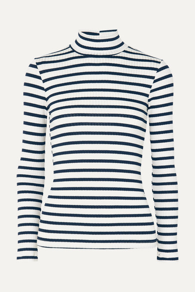 Striped Ribbed Stretch-Knit Turtleneck Top in White