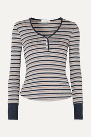 FRAME Striped ribbed stretch-knit top