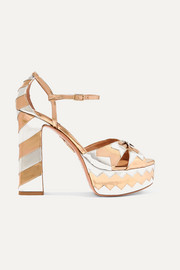 Aquazzura + Eugenie Niarchos So Eugenie embellished metallic leather platform sandals