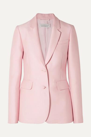 GABRIELA HEARST Woman Serge Silk And Wool-Blend Blazer Pastel Pink in Baby Pink