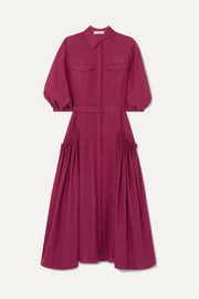 Woodward belted gathered wool and cashmere-blend midi dress