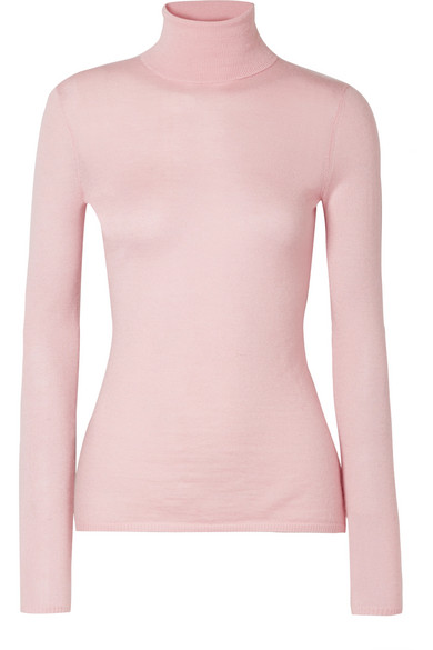 GABRIELA HEARST Costa Long-Sleeve Turtleneck Thin-Rib Cashmere-Silk Sweater in Baby Pink