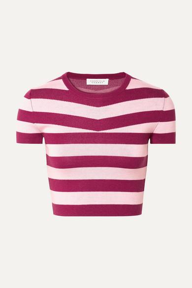 GABRIELA HEARST | Gabriela Hearst - Cropped Striped Wool And Cashmere-blend Top - Blush | Goxip