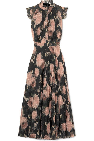Roisin Floral-Print Fil Coupé Crepon Midi Dress in Black