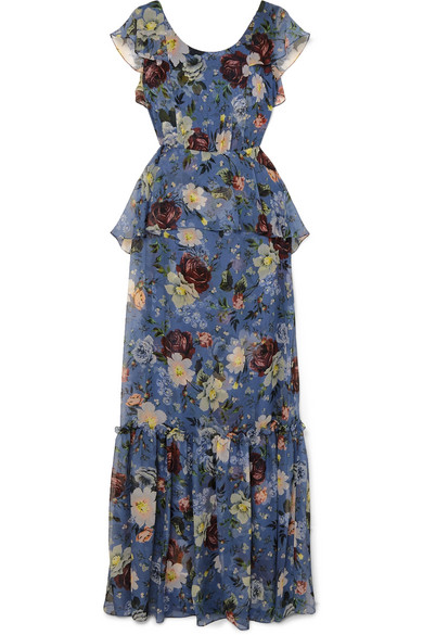 ERDEM Julianna Scoop-Neck Cap-Sleeve Floral-Print Silk Chiffon Dress in Blue