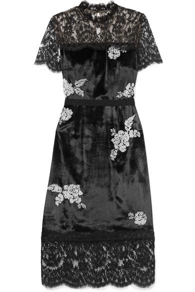Keni Lace-Paneled Silk-Faille Trimmed Faux Pearl-Embellished Velvet Dress in Black