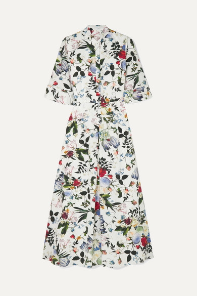 Florence Keyhole-Front Bell-Sleeve Floral-Print Silk Midi Dress in White