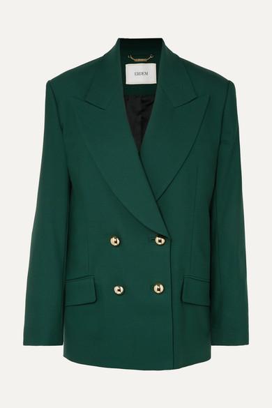 ERDEM | Erdem - Jasper Double-breasted Grain De Poudre Wool-blend Blazer - Emerald | Goxip