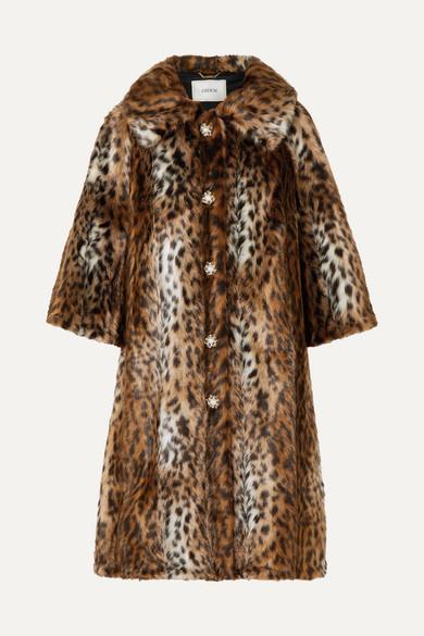 ERDEM | Erdem - Sorayah Embellished Leopard-print Faux Fur Coat - Leopard print | Goxip