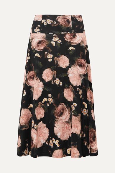 Elvin High-Waist Floral-Print Crepe Midi Skirt in Black