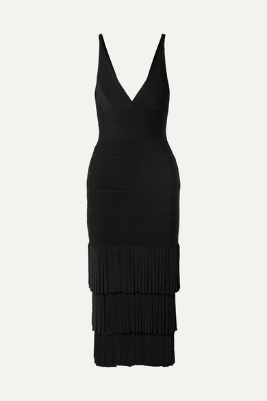 Fringed Bandage Midi Dress in Black